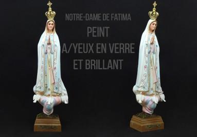 Notre-Dame de Fatima Peint Avec Yeux en Verre et Brillant