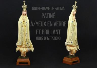 Notre-Dame de Fatima Patiné Avec Yeux en Verre et Brillant