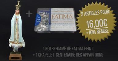 Notre-Dame de Fatima Peint + Chapelet Centenaire des Apparitions de Fatima