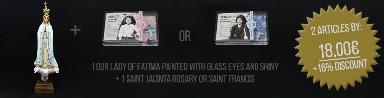 Our Lady of Fatima Painted With Glass Eyes and Shiny + Jacinta Rosary Fatima + Saint Francis Rosary