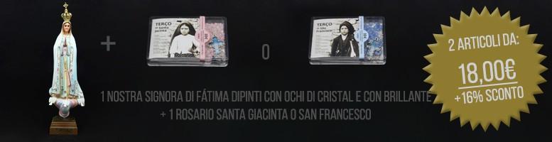 Nostra Signora di Fátima Dipinti con Ochi di Cristal e con Brillante + Rosario Santa Giacinta + Rosa