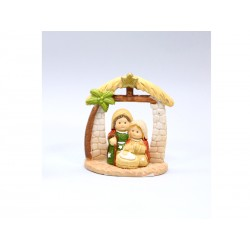 Nativity in Cabin and Palm tree - 6 Cm