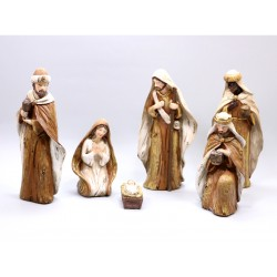 Nativity Patinated with 6 pieces - 17,5 Cm