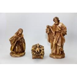 Nativité 3 Figures Patiné - 19 Cm