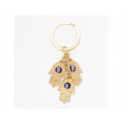 Golden Keychain with Hands and Eye of the Lucky