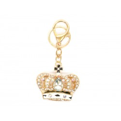 Porte-clés doré avec couronne