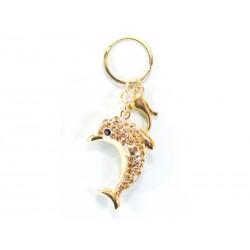 Porta-chaves C/Golfinho Brilhante Dourado
