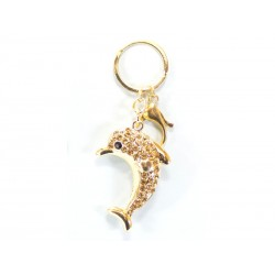 Porte-clés avec Dauphin Brillant Doré