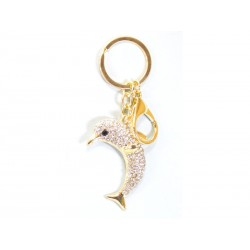 Keychain with Silver Brilliant Dolphin