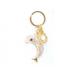 Porte-clés avec Dauphin Brillant D'argent