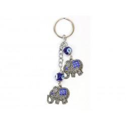 Porte-clés avec Éléphants d'Oeil de la Chance