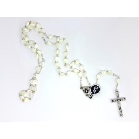 Rosary with Beads in Mother Pearl in Heart