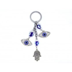 Keychain with 2 Eyes of the Luck and Hand of Fátima