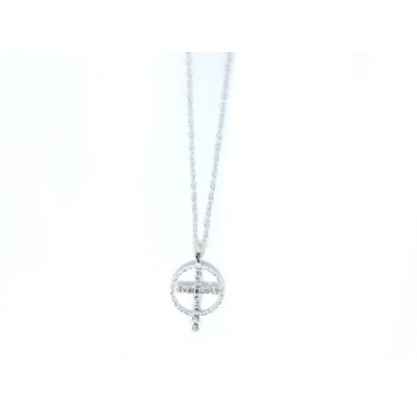 Thread with Cross and Aura with Silver Diamonds