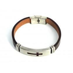 Bracelet en Peau avec Croix