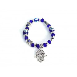 Elastic Bracelet with Hand of Fatima and Eye of the Luck