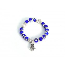 Elastic Bracelet with Hand of Fatima and Eye of the Luck in Glass