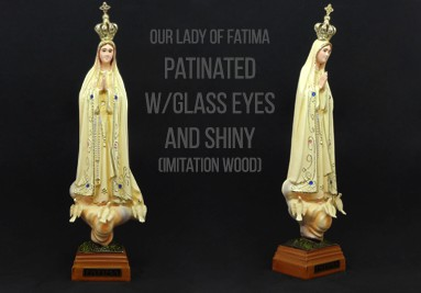 Our Lady of Fatima Patinated With Glass Eyes and Shiny